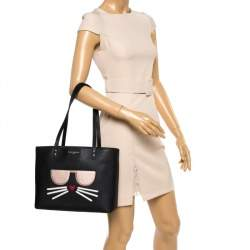 Karl Lagerfeld Black Leather Maybelle Cat Tote