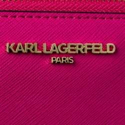 محفظة كارل لاغرفيلد كيه/ايكونيك سحاب ملتف جلد وردي