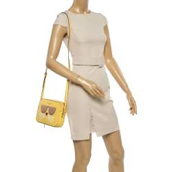 Karl Lagerfeld Yellow Leather Maybelle Choupette Crossbody Bag