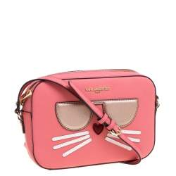 Karl Lagerfeld Pink Leather Maybelle Choupette Crossbody Bag