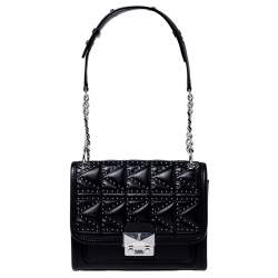 Karl Lagerfeld Black Leather Small K/Kuilted Studs Top Handle Bag