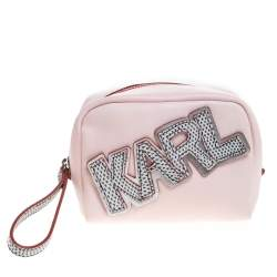 Karl Lagerfeld Pink Leather Wristlet Pouch