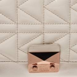 Karl Lagerfeld Light Beige Patent Leather Shoulder Bags