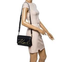 حقيبة كروس كارل لاغرفيلد شعار الماركة حرف كيه جلد أسود