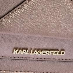 حقيبة كتف كارل لاغرفيلد كيه/ كلاسيك جلد ذهبي وردي ميتاليك