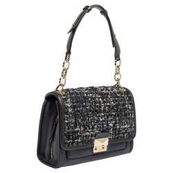 Karl Lagerfeld Blue/Black Leather and Tweed K/Kuilted Flap Shoulder Bag