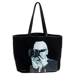Karl Lagerfeld Black Karl Lagerfeld Print Canvas and Leather Shopper Tote