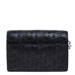 Karl Lagerfeld Black Signature Embossed Leather Flap Shoulder Bag