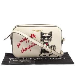 Karl Lagerfeld White Leather Maybelle Choupette Crossbody Bag