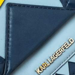 Karl Lagerfeld Blue/Yellow Leather K/Klassik Zigzag Shoulder Bag