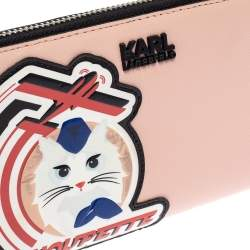 Karl Lagerfeld Pink/Black Leather Choupette Zip Around Continental Wallet