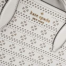 Kate Spade White Perforated Leather Small Rowe Tote