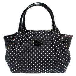 Kate Spade Black/White Nylon and Patent Leather Polka Dot Satchel