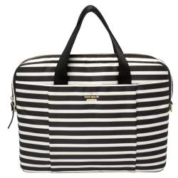 Kate Spade Black/White Striped Satin Classic 13 Inches Laptop Bag