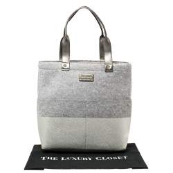 Kate Spade Grey Frosted Wool and Leather Quinn Tote