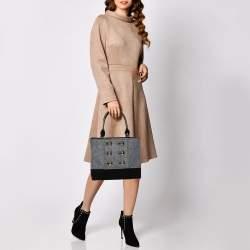 Kate Spade Grey/Black Felt Fabric Beantown Quinn Tote