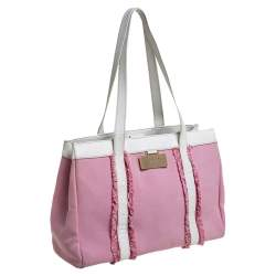 Kate Spade Pink/White Canvas and Leather Metal Plate Tote