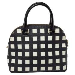 Kate Spade Black/White Checkered Coated Canvas and Leather Satchel