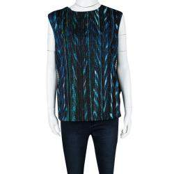 Kenzo Multicolor Printed Textured Sleeveless Top M