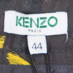 Kenzo Grey Contrast Feather Print Denim Straight Fit Jeans L