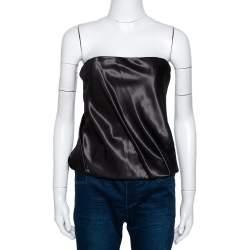 Kenzo Black Cotton Silk Blend Gathered Strapless Top M