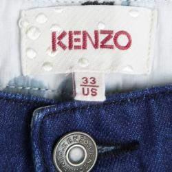 Kenzo Indigo Denim Paneled Bottom Detail Tapered Baggy Jeans L
