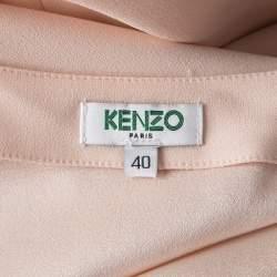 Kenzo Beige Shoulder Button Detail V-Neck Top M