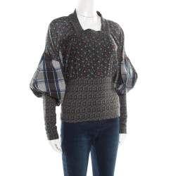 Kenzo Multicolor Floral and Checked Print Blouson Top S