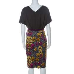 Kenzo Grey Floral Brushstroke Print Stretch Cotton Belted Dress M