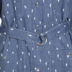 Kenzo Blue Denim Cactus Print Belted Shirt Dress L