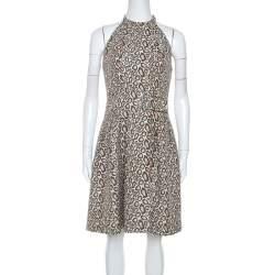 Kenzo Beige Animal Pattern Jacquard Sleeveless Dress S