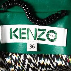 Kenzo Green Eye Embroidered Leather Zip Front Jacket S