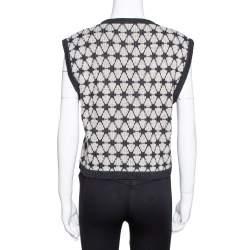 Kenzo Black Patterned Wool Knit Cropped Sleeveless Sweater L
