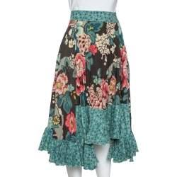 Kenzo Teal Floral Print Wool Crepe Ruffled Midi Skirt M