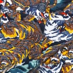 بنطلون جينز كينزو سكيني دنيم مطبوع نمر طائر متعدد الألوان مقاس وسط (ميديوم)