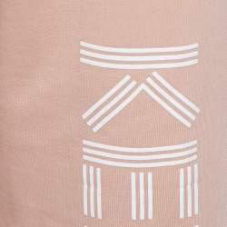 Kenzo Salmon Pink Knit Logo Printed Cropped Track Pants XS