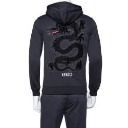 Kenzo Black Knit Dragon Embroidery Detail Hoodie XS