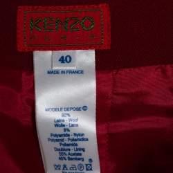 Kenzo Crimson Red Wool Mini Skirt M