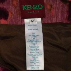 Kenzo Multicolor Abstract Printed Wool Smocked Detail Midi Skirt L