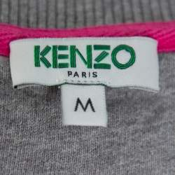 Kenzo Grey Tiger Motif Embroidered Cotton Crewneck Sweatshirt M