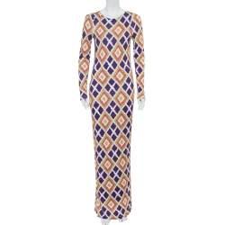 Kenzo Multicolor Printed Knit Slit Detail Maxi Dress M