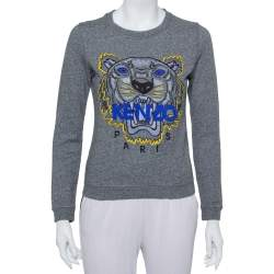 Kenzo Grey Cotton Tiger Embroidered Crewneck Sweater S