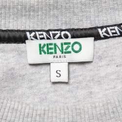 Kenzo Grey Floral Logo Embroidered Cotton Crewneck Sweatshirt S