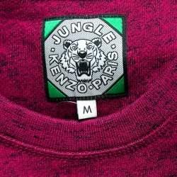 Kenzo Jungle Pink Slub Terry Embroidered Tiger Motif Sweatshirt M