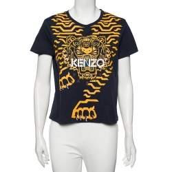 Kenzo Blue Cotton Tiger Logo Printed Round Neck T-Shirt M