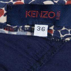 Kenzo Multicolor Printed Cotton Asymmetric Paneled Skirt S
