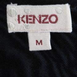 Kenzo Black Knit Draped Sleeveless Dress M