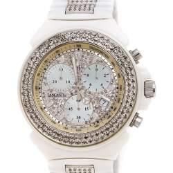 Lancaster Mother of Pearl Diamond Pave White Ceramic Stainless Steel Ref.0293 Women's Wristwatch 40 mm