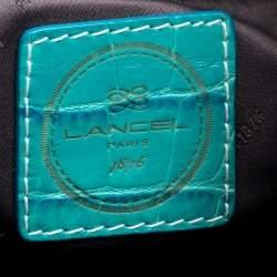 Lancel Brown/Aqua Green Signature Canvas and Leather Shoulder Bag