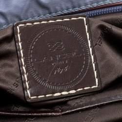 Lancel Metallic Blue Nylon and Leather Bowling Bag